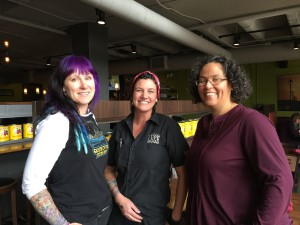 Co-Owner Laura Hansen, Manager Sara Durkin and Co-Owner JJ Haywood