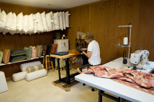 Mary Opila working in her studio.